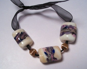 Lampwork Ivory and Lavender Nugget Beads