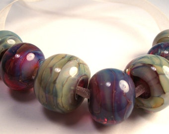 Beautiful Lampwork Beads in Greens, Blues, and Reds