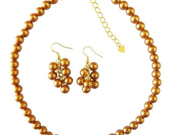 NS876  Golden Pearls Affordable Bridal Bridemaids Handmade Jewelry Set