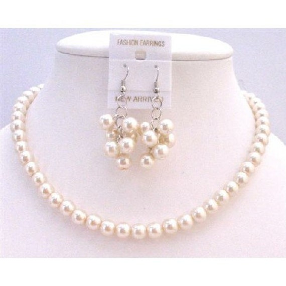 Bridesmaid Pearl Jewelry Set,Bridesmaid Pearl Necklace Earrings,Ivory Pearl Necklace Earrings Set,Bridesmaid Jewelry Set Free Shipping USA