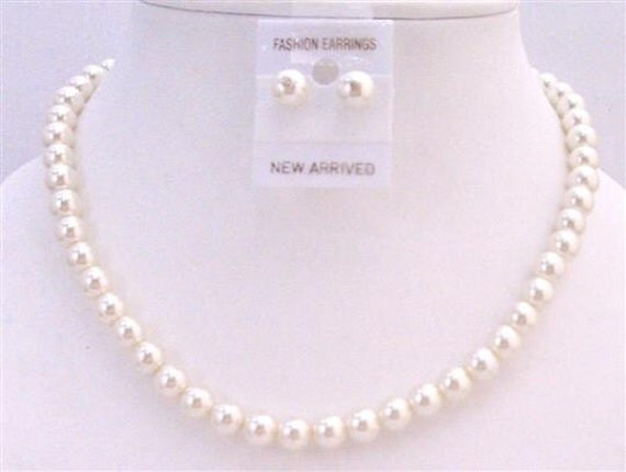 NS446 Cream Pearls Wedding Jewelry Set Cream Pearls Stud Earrings Necklace Set Inexpensive Jewelry Free Shipping