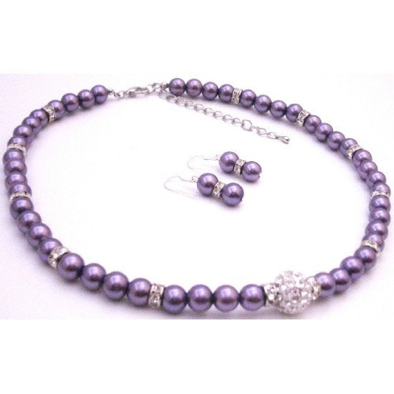 NS940  Pave Ball CZ Pendant Purple Pearls Silver Rondells Necklace Earrings Free Shipping for United States