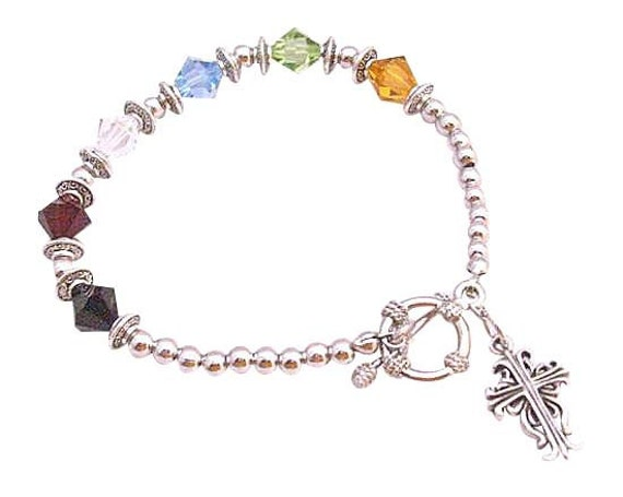 Salvation Bracelet Austrian Crystals  Jet Siam Topaz Peridot Aquamarine Clear Crystals 92.5 Sterling Silver Cross Dangling Bracelet