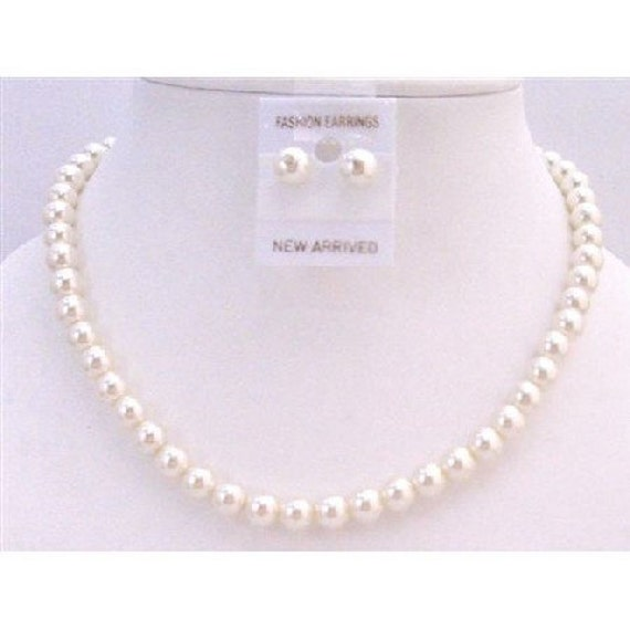 NS446  Cream Pearls Wedding Jewelry Set Cream Pearls Stud Earrings Necklace Set Inexpensive Jewelry