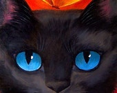 Black Cat Painting Print Art 11x14