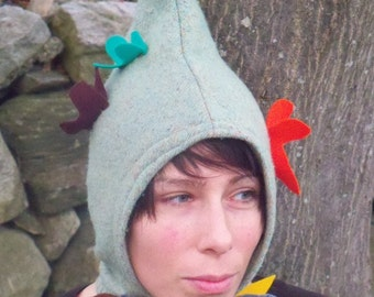 Upcycled Butterfly Faerie Hat in Green Wool on Sale Was 30