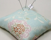 Large Emery Pincushion / Pin Cushion - Light Blue with Rose Pink Flowers