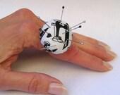 SALE  - Pincushion Ring - Classic Sewing Machine