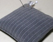 Large Emery Pincushion / Pin Cushion - Mens Grey Pinstripe - Keeps Pins Sharp - dottyral