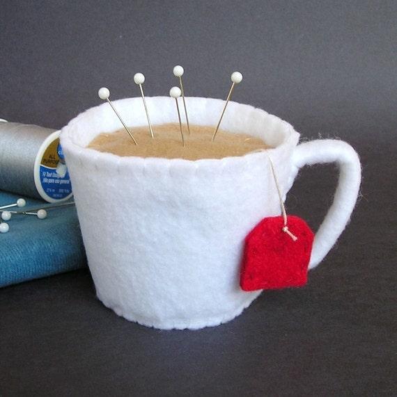 Emery Pincushion - Felt Cup of Hot Tea
