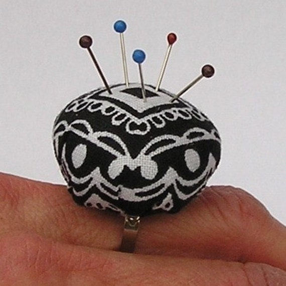 SALE - Pincushion Ring - Black White Medallion