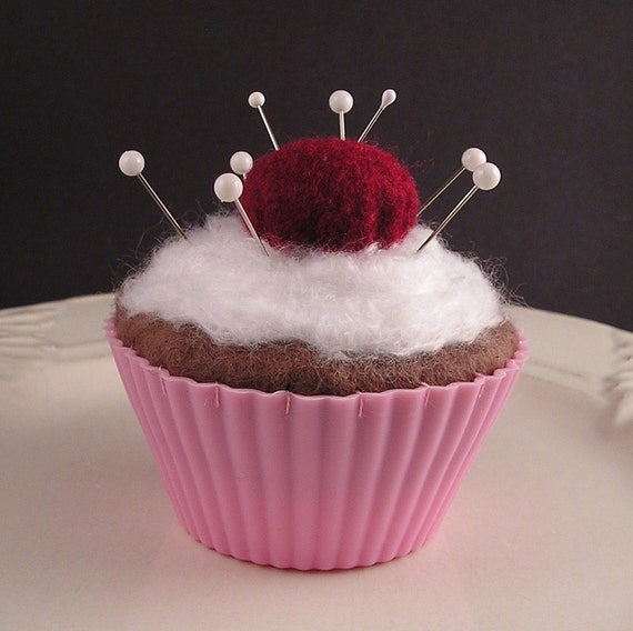 Cupcake Pincushion / Pin Cushion - Chocolate with Emery Cherry in Pink Liner