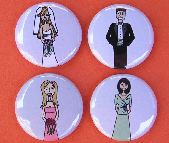 RESERVED FOR EHMIOAC - Custom Buttons Badges for Bridal Party - Bride, Groom, Usher, Bridesmaid, Flower Girl, Ring Bearer (13)