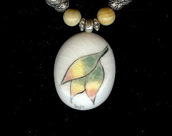 Fall Turning Leaves Porcelain Pendant with Beaded Necklace