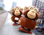 Monkey See Monkey Do - toy photography, monkey, kids room, wall decor, wind up, vintage toy