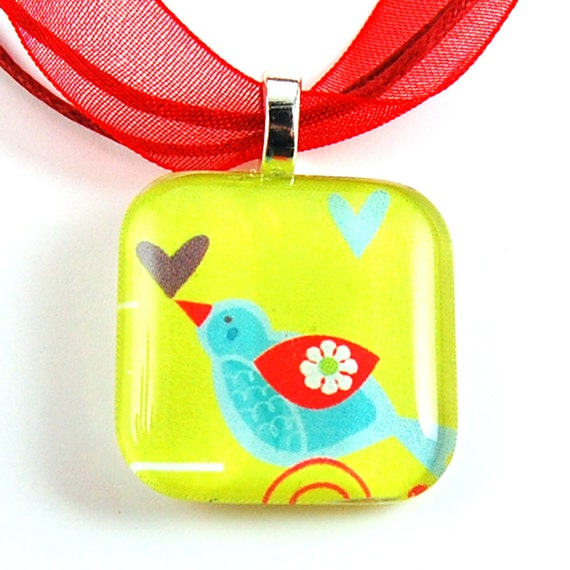Bird with Hearts Necklace - Glass Tile Pendant on a Red Organza Necklace