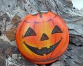 Halloween Vintage Pumpkin Face 1 1\/2  inch button