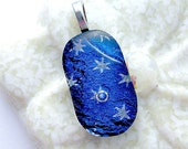 Blue Dichroic with Silver Stars Fused Glass Pendant