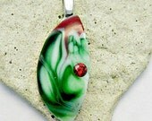 Green Red White With A Twist Fused Glass Pendant
