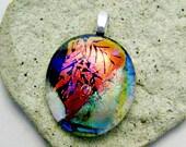 Fused Dichroic Glass  Leaves Pendant