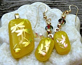 Fused Dichroic Glass Pendant and Earrings - Yellow With Dichroic Dragonflies Set