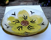 Fused Glass Flower Trinket Bowl