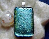 Aqua Shimmer Fused Dichroic Glass Pendant