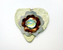 Fused Glass Jewelry - Dichroic Pendant - Fine Silver and Copper - A Special Blossom