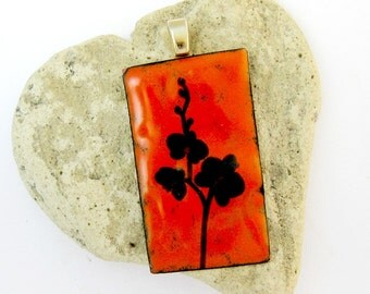Enameled Pendant - Black Flowers On Orange