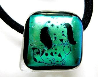 Fused Glass Doggie Ponytail Holder 149