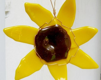 Abstract Yellow Sun Flower Fused Glass Sun Catcher