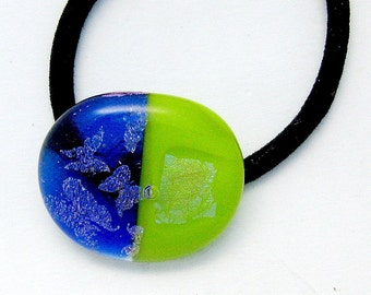 Dichroic Butterflies Green and Blue Fused Glass Pony Tail Holder - Bracelet