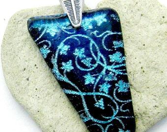 Black with Aqua Dichroic Vines Fused Glass Pendant