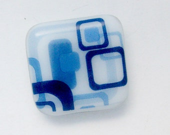 Blue and White Fused Glass Magnet