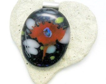 Fused Glass Jewelry / Abstract Flower / Dichroic Pendant
