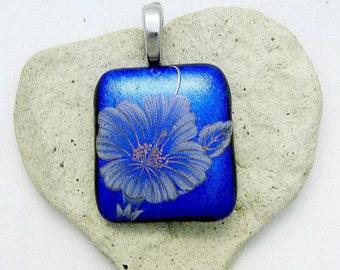 Flower Power Blue Dichroic Fused Glass Pendant