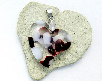 Red and White Heart Pendant- Fused Glass Pendant