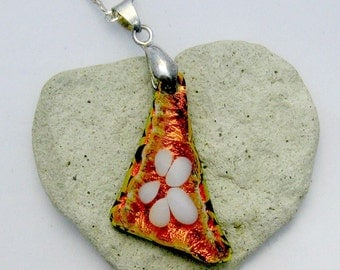 Fused Dichroic Glass Pendant - Daisy Flower Pendant