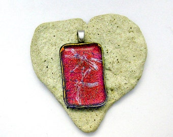 Red Pendant - Fused Dichroic Glass Pendant