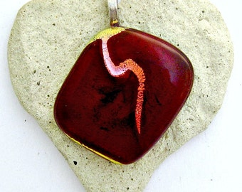 Dichroic Cherry Red with Copper Gold Wave Fused Glass Pendant