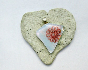 Dichroic  Mica Flower-Fused Glass Pendant
