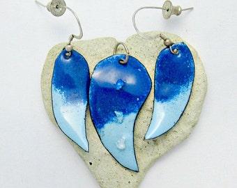 Dichroic Enameled Pendant and Earring Set