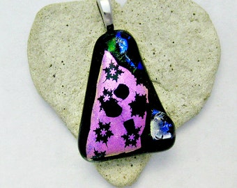 Fused Dichroic Glass Pendant - Vibrant Pink Dichroic Pendant