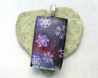 Purple Dichroic with Light Purple Snowflakes Fused Glass Pendant