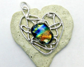 Dichroic Heart Fused Glass Fine Silver Pendant