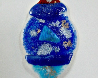 Fused Glass Christmas Ornament or Sun Catcher