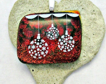 Firey Red Dichroic Pendant - Fused Dichroic Glass Pendant