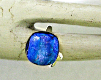 Blue Dichroic Fused Glass Adjustable Sterling Silver Ring
