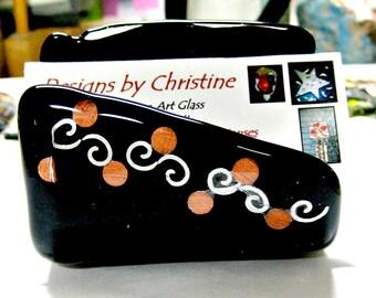 Fused Glass Black Business Card - Sponge - Cell Phone - Napkin Holder
