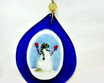 Fused Glass Snowman Ornament 4